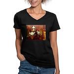 Dinner Women's V-Neck Dark T-Shirt