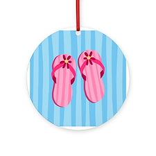 Pink Flip Flops Ornament (Round)