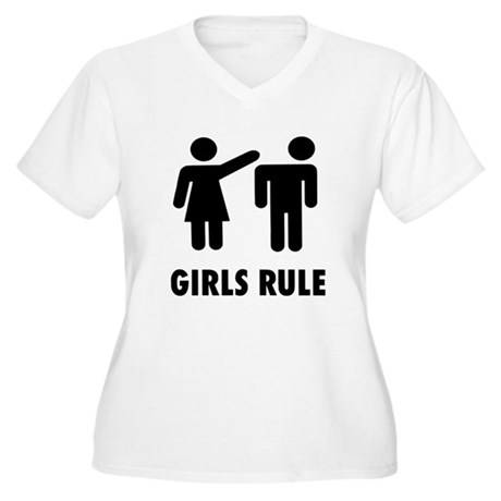 Girls Rule Women's Plus Size V-Neck T-Shirt