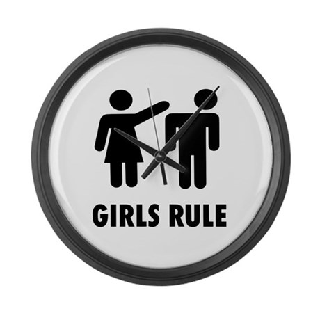 Girls Rule Large Wall Clock