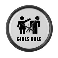 Girls Rule Large Wall Clock
