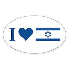 I Heart Israel Oval Decal