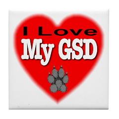 I Love My GSD Tile Coaster