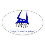 Blue Monster Oval Sticker (10 pk)