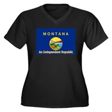 Montana-4 Women's Plus Size V-Neck Dark T-Shirt