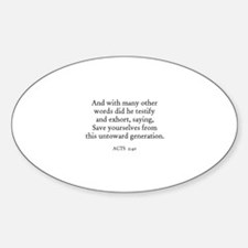 ACTS 2:40 Oval Decal