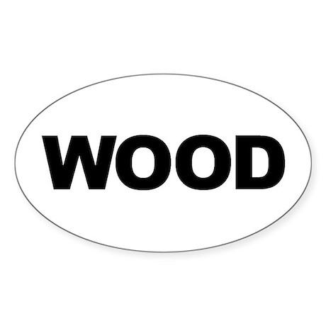 WOOD Oval Sticker