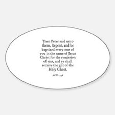 ACTS 2:38 Oval Decal