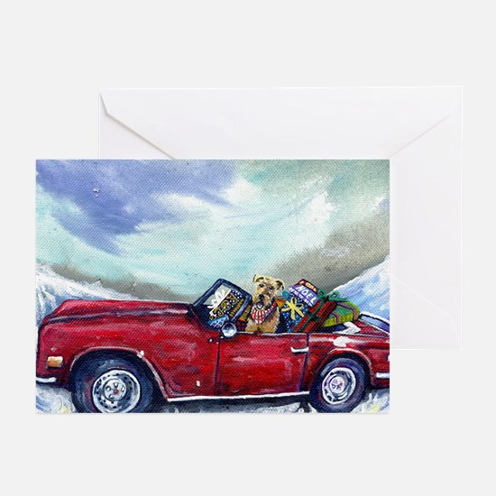 Christmas Airedale terrier Greeting Cards