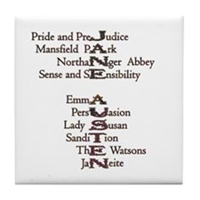 Jane Austen Book 1 Tile Coaster