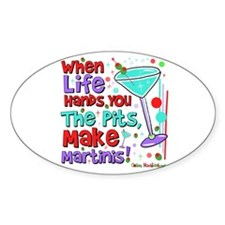 Make Martinis Oval Sticker (10 pk)