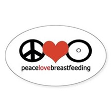 Peace, Love & Breastfeeding Oval Decal