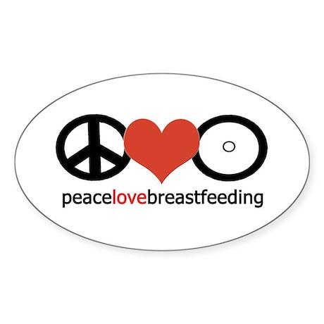 Peace, Love & Breastfeeding Oval Sticker