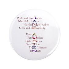 """Jane Austen books2 3.5"""" Button"""
