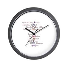 Jane Austen books2 Wall Clock