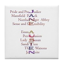 Jane Austen books2 Tile Coaster