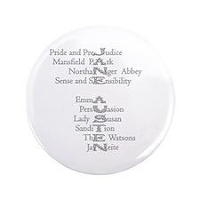 """Jane Austen Books 3 3.5"""" Button"""