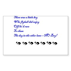 Flyball No Chasing Rectangle Sticker 10 pk)