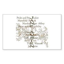 Jane Austen Books 5 Rectangle Decal