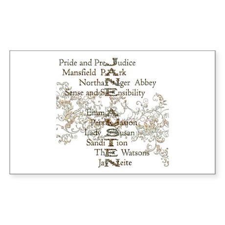 Jane Austen Books 5 Rectangle Sticker