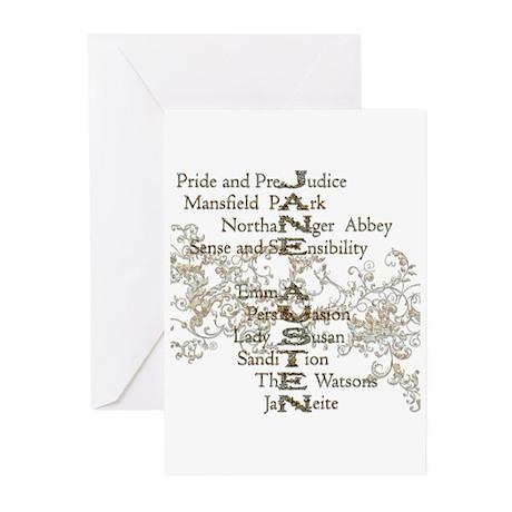 Jane Austen Books 5 Greeting Cards (Pk of 10)