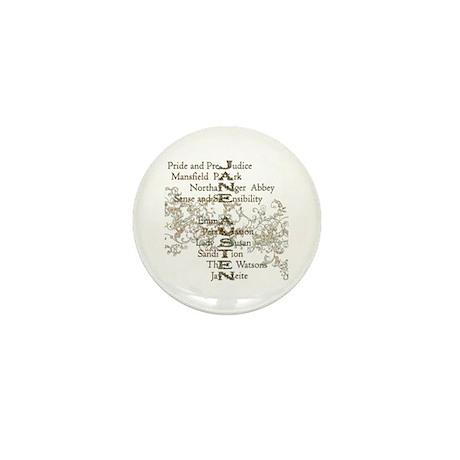Jane Austen Books 5 Mini Button