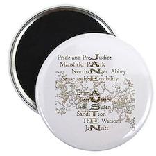 Jane Austen Books 5 Magnet