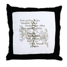 Jane Austen Books 5 Throw Pillow