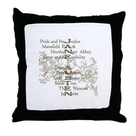 Jane Austen Books 5 Throw Pillow