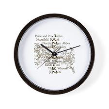 Jane Austen Books 5 Wall Clock
