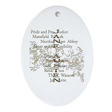 Jane Austen Books 5 Oval Ornament