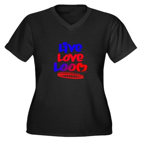 Live Love Loom Women's Plus Size V-Neck Dark T-Shi