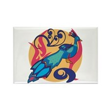 Pretty Peacock Seven Rectangle Magnet (10 pack)