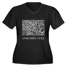 Chichén Itzá Women's Plus Size V-Neck Dark T-Shirt