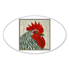 Cochin-Silver Rooster Oval Sticker