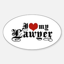 I Love My Lawyer Oval Decal