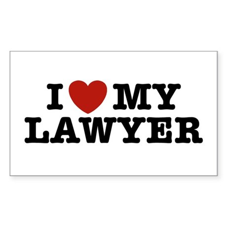 I Love My Lawyer Rectangle Sticker
