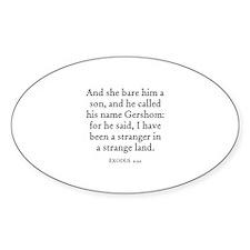 EXODUS 2:22 Oval Decal