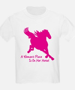 Woman's Place Is On Her Horse T-Shirt