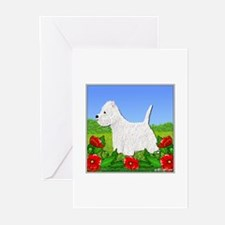Westie Among the Flowers Greeting Cards (Package o