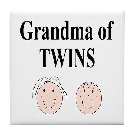 Grandma of Twins Boy/Girl Tile Coaster