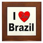 I Love Brazil Framed Tile