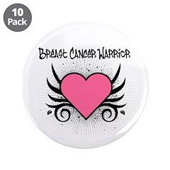 """BreastCancerWarrior Tattoo 3.5"""" Button (10 pack)"""