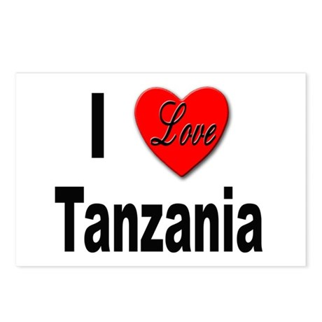 I Love Tanzania Africa Postcards (Package of 8)