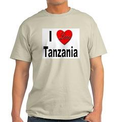 I Love Tanzania Africa (Front) Ash Grey T-Shirt