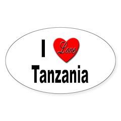 I Love Tanzania Africa Oval Sticker