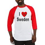 I Love Sweden (Front) Baseball Jersey