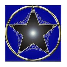 Golden 5 Point Star Tile Coaster