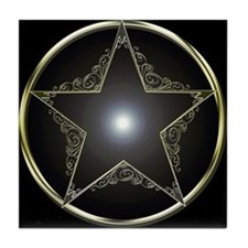 Golden 5 Point Star 2 Tile Coaster