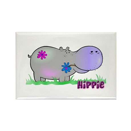 Hippie Hippo Rectangle Magnet